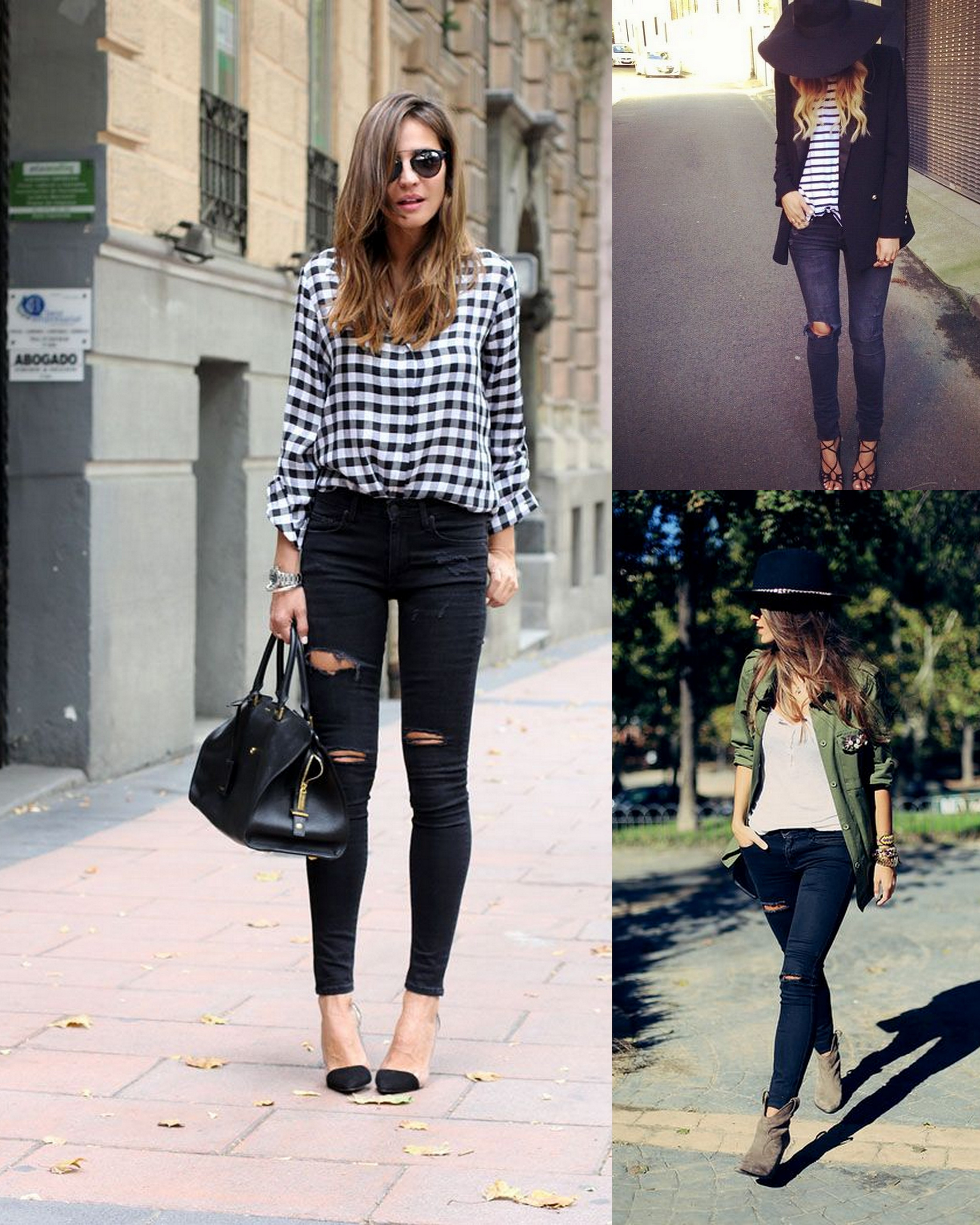 fall fashion black distressed skinny jeans