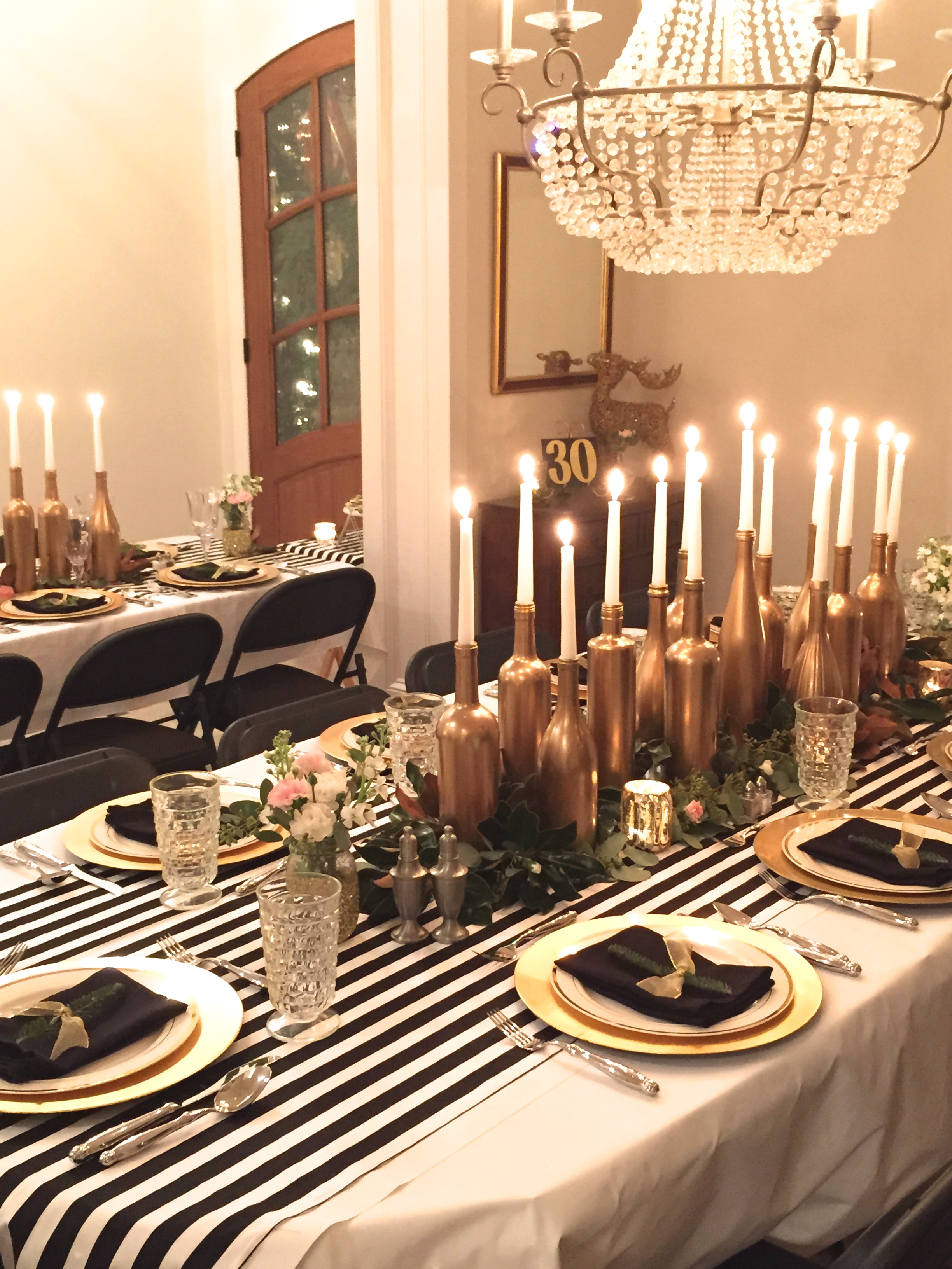 Gold black and white my 30th birthday dinner party for Dinner decoration