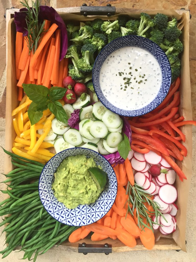 Vegetable tray with dairy free ranch dressing wooden and for Baby shower tray decoration
