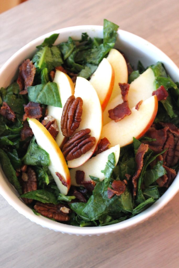 kale salad with apple bacon pecans from The Big 15 Paleo cookbook