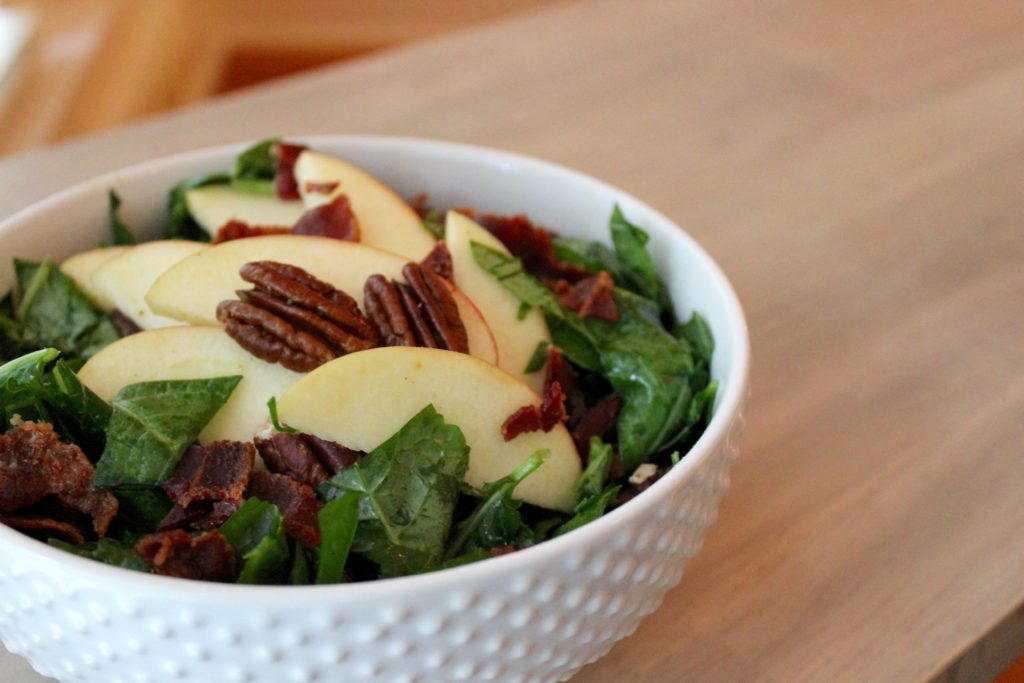 kale salad with apple bacon and pecan from The Big 15 Paleo Cookbook