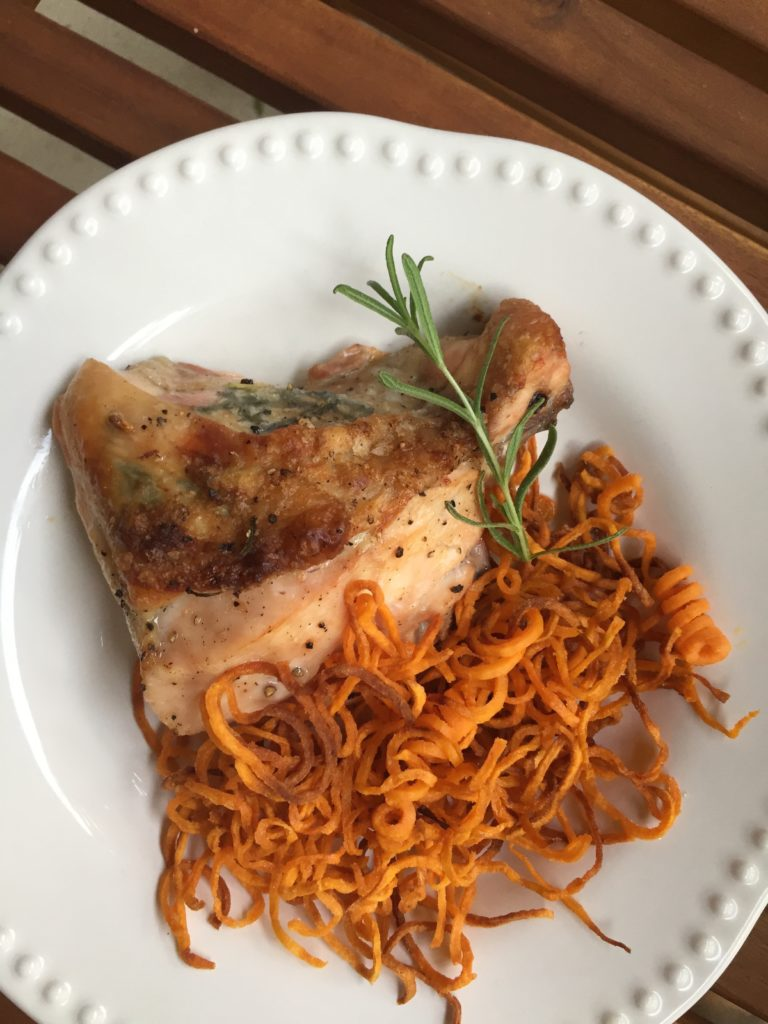 rosemary lemon roasted chicken with spiralized shoestring sweet potato fries recipe