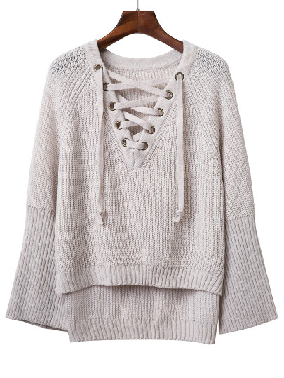 gray lace-up sweater with bell sleeve