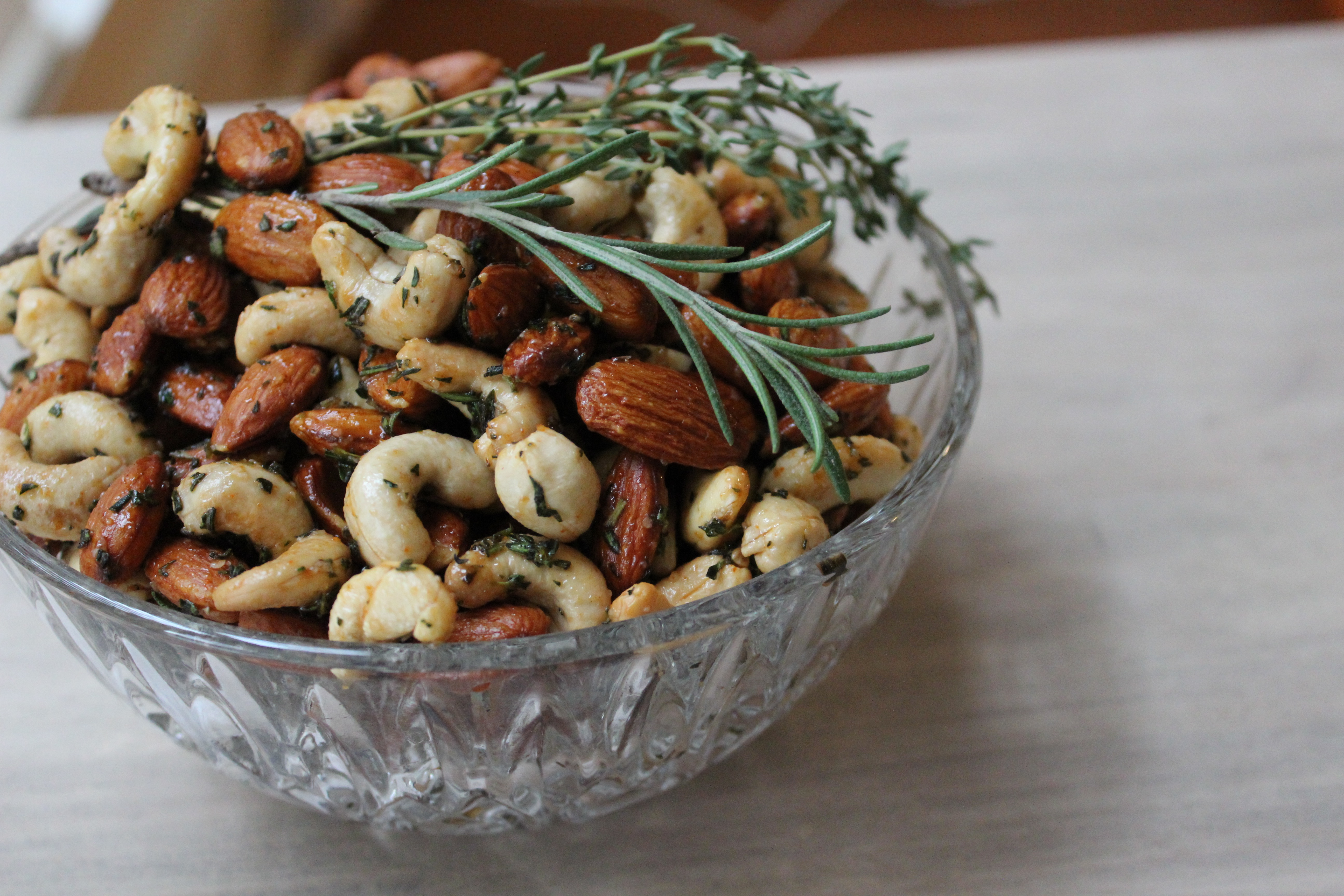 Sweet and Spicy Herb Roasted Nuts -